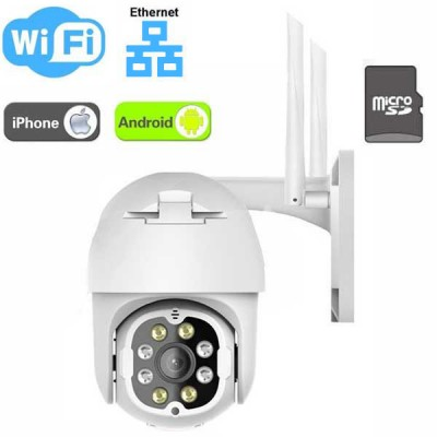 Telecamera Wi-Fi motorizzata con LED dual light - Audio bidirezionale / SD Card / Ethernet