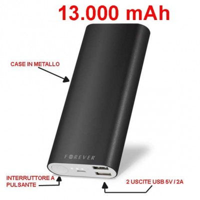 POWER BANK 13000 mAh - 2 Uscite USB 5V / 2A