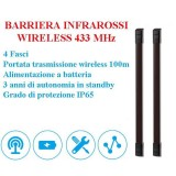 Barriera Infrarossi Wireless 10 metri 4 fasci