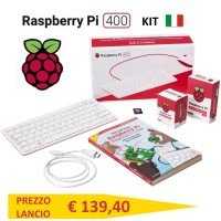 Kit Computer Raspberry Pi 400 con layout tastiera e manuale in Italiano