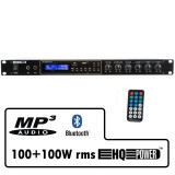 Amplificatore 2x100 watt con lettore MP3, Radio FM e Bluetooth